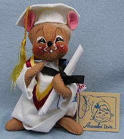 "Annalee 7"" Graduation Mouse in White - Mint  - 209595sqxt"