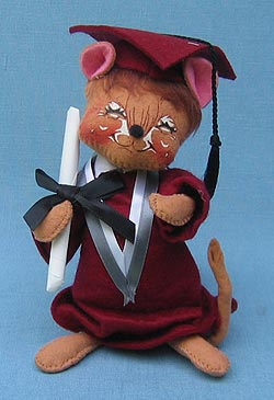 "Annalee 7"" Graduation Mouse in Maroon - Mint - 210094x"