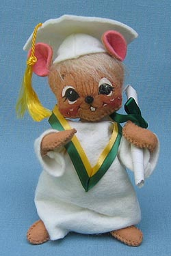 """Annalee 7"""" Graduation Mouse in White - Mint - 210095"""