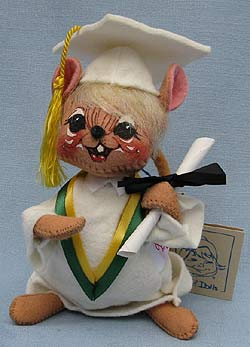 """Annalee 7"""" Graduation Mouse in White - Mint - 210096def"""