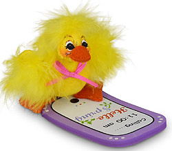 "Annalee 3"" Spring is Calling / Texting Duck with Phone 2020 - Mint - 210120"