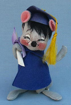 """Annalee 7"""" Graduation Mouse in Blue - Excellent - 210580sqa"""