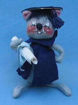 "Annalee 7"" Graduation Mouse in Blue - Excellent - 210580x"