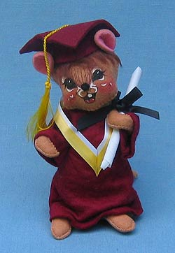 "Annalee 7"" Graduation Mouse in Maroon - Mint - 210594yell"