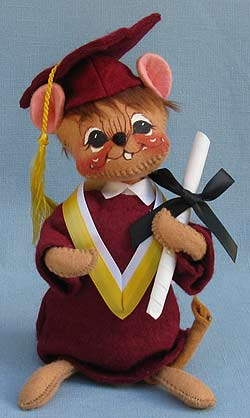 "Annalee 7"" Graduation Mouse in Maroon - Mint - 210595oxt"