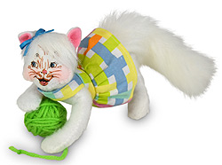 "Annalee 4"" Spring Kitty Cat with Ball of Yarn 2020 - Mint - 210620"