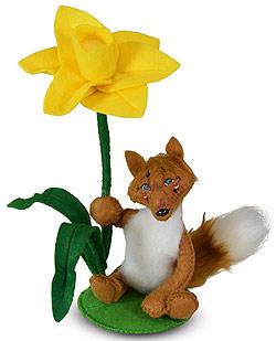 "Annalee 4"" Fox with Daffodil 2020 - Mint - 210720"