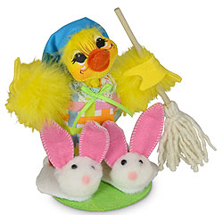 "Annalee 6"" Spring Cleaning Duck Holding Mop 2020 - Mint - 211120"