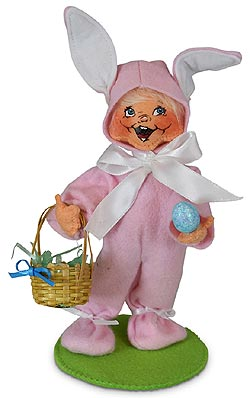 "Annalee 6"" Easter Bunny Kid with Basket 2020 - Mint - 211320"