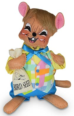 """Annalee 6"""" Spring Boy Mouse Holding Bird Seed 2020 - Mint - 211820"""
