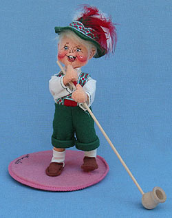 "Annalee 7"" Swiss Alps Boy with Alpenhorn - Mint - Signed - Prototype - 235796s"