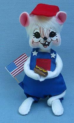 "Annalee 6"" Picnic Boy Mouse Holding Hotdog - Mint - 250412"