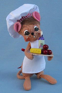 """Annalee 6"""" Wine Chef Mouse Holding Tray 2016 - Mint - 251516"""