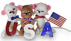 "Annalee 3"" USA Patriotic Mice 2020 - Mint - 260020"