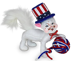 "Annalee 4"" Patriotic Kitty Cat with Ball of Yarn 2020 - Mint - 260120"