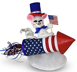 "Annalee 5"" Patriotic Blast Off Rocket Mouse 2020 - Mint - 260220"