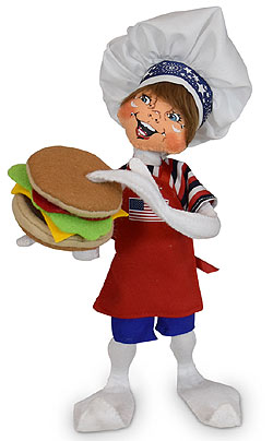 "Annalee 12"" Patriotic Hamburger Chef Elf 2020 - Mint - 260820"