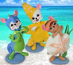 "Annalee Set of 3 - 6"" Wannabe Beach Mice 2020 - Mint - 2612-2613-261420"