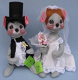 "Annalee 12"" Bride & Groom Mice - Mint - 2905-2910-82ox"