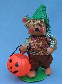 "Annalee 8"" Halloween Trick or Treat Scarecrow Bear - Mint - 297700"