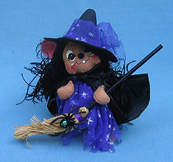 """Annalee 6"""" Witch Mouse with Long Black Hair - Mint - 300903"""
