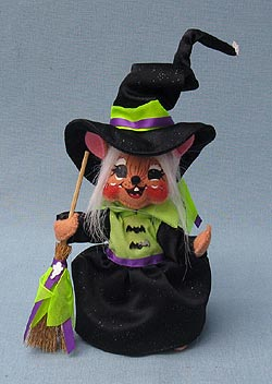 "Annalee 6"" Sparkle Witch Mouse - Mint - 300909"
