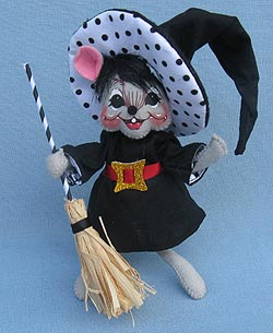 "Annalee 6"" Polka Dot Witch Mouse 2015 - Mint - 301015"