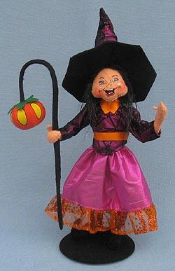 "Annalee 11"" Light the Way Witch with Pumpkin Lantern 2014 - Mint - 302114"