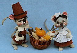 "Annalee 7"" Brown Pilgrim Mice - Very Good - 305084a"