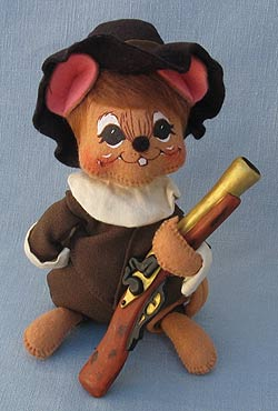 """Annalee 6"""" Pilgrim Boy Mouse with Musket - Mint - 307703oxt"""
