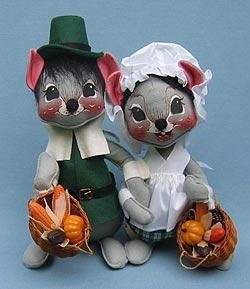 "Annalee 12"" Green Pilgrim Boy & Girl Mice - Mint - 3080-3075-91"
