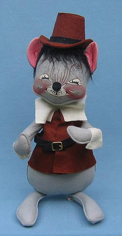 "Annalee 12"" Brown Pilgrim Boy Mouse - Excellent - 308085a"