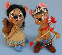 """Annalee 7"""" Indian Girl Mouse with Papoose & Indian Boy - Near Mint - 3085-3090-85"""