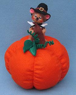 "Annalee 3"" Pilgrim Mouse on Pumpkin - Mint - 309306"