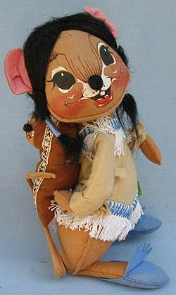 """Annalee 12"""" Indian Girl Mouse with Papoose - Excellent - 310086a"""
