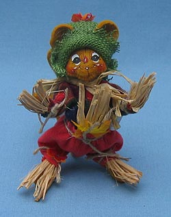 """Annalee 4"""" Scarecrow Mouse with Green Hat - Mint - 310104"""