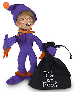 """Annalee 5"""" Trick or Treat Purple Elf with Bag 2020 - Mint - 310920"""