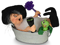 "Annalee 9"" Scrub-a-Dub Witch with Frog in Tub 2020 - Mint - 311620"