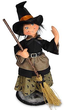 "Annalee 14"" Batty Witch Holding Broom 2020 - Mint - 311820"