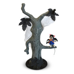 "Annalee 17"" Grey Haunted Tree with Bat Mouse 2018 - Mint - 312118"