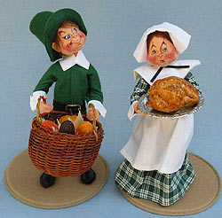 "Annalee 10"" Pilgrim Man and Woman with Turkey - Near Mint - 3166-316491"
