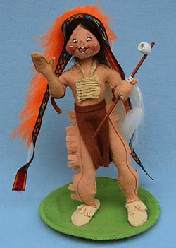 """Annalee 10"""" Indian Chief Holding Peace Pipe - Excellent - 316895a"""