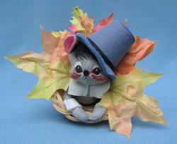 "Annalee 7"" Pilgrim Mouse in Cornucopia with Blue Hat - Mint / Near Mint - 317293"