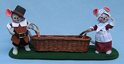 "Annalee 5"" Pilgrim Mice with Basket - Mint - 318202"