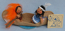 """Annalee 3"""" Canoeing Indian Kids in Beige Canoe - Excellent - 322296a"""