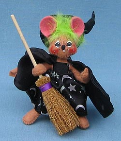 """Annalee 4"""" Witch Mouse with Yellowish Green Hair - Mint - 322606"""
