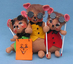 "Annalee 7"" Buncha Blind Mice with Glasses & Canes - Mint - 323706"