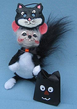 "Annalee 6"" Trick or Treat Cat Mouse with Mask - Closed Mouth - Mint - 325205oxt"