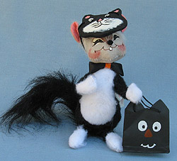 """Annalee 6"""" Trick or Treat Cat Mouse with Mask - Excellent - 325205sqxt"""