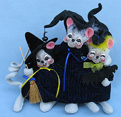"Annalee 10"" Triple Trouble Bunch of Witch Mice - Near Mint - 325705a"